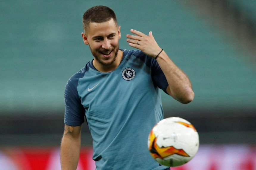 Chelsea's Belgian midfielder Eden Hazard practices during a training session at the Baku Olympic Stadium, on May 28, 2019.