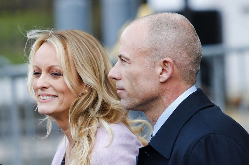 Stormy Daniels and Michael Avenatti leaving a US federal court in New York in April 2018.