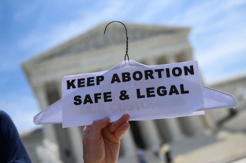 Abortion rights activists rally in front of the US Supreme Court in Washington, DC.