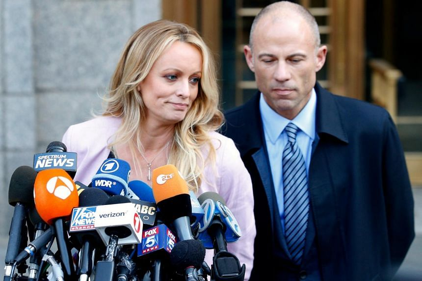 Stormy Daniels speaking to the media along with lawyer Michael Avenatti outside the federal court in New York City, on April 16, 2018.