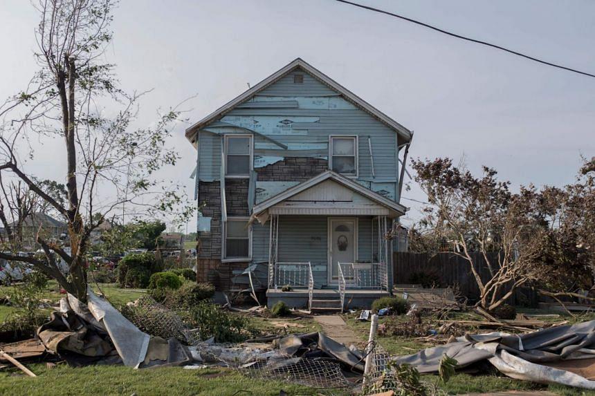 A damaged house in Dayton, Ohio on May 28, 2019.