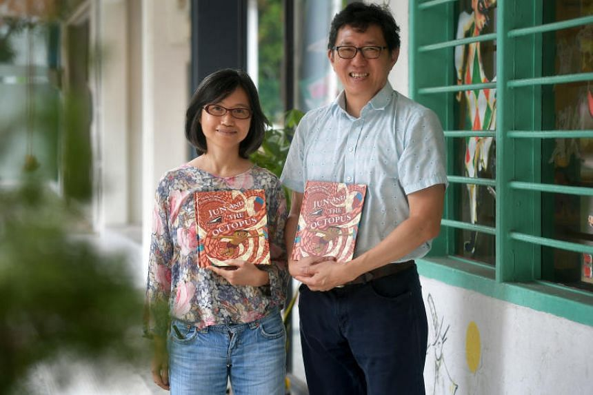 Illustrator Lim An-ling and author Goh Eck Kheng at Singapore Children's Society's launch of a child sexual abuse prevention storybook titled Jun And The Octopus on May 29, 2019.
