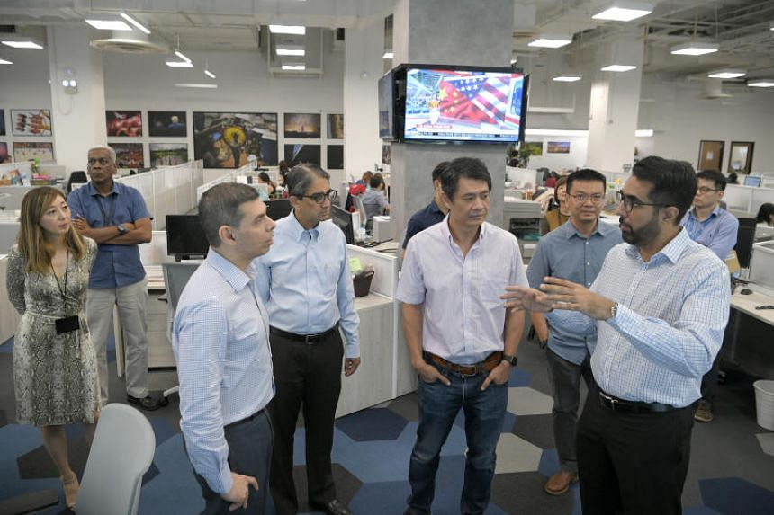 (From left) The Straits Times executive editor Sumiko Tan, EMTM managing editor Dominic Nathan, EMTM editor-in-chief Warren Fernandez, WP Non-Constituency MP Leon Perera, EMTM head of digital strategy Eugene Leow, WP NCMP Daniel Goh and WP chief Prit