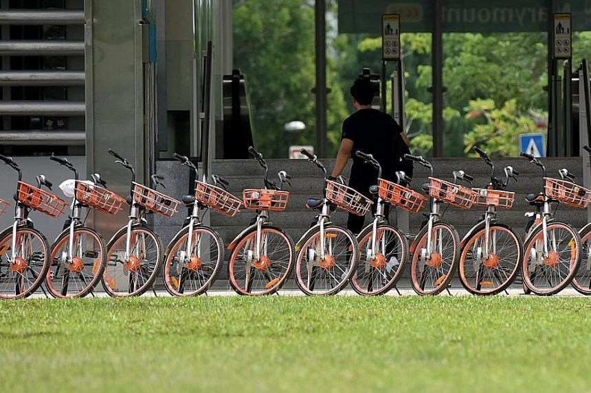 A row of Mobike two-wheelers outside Marymount MRT station. No concrete date has been set as to when Mobike will exit the Singapore market.