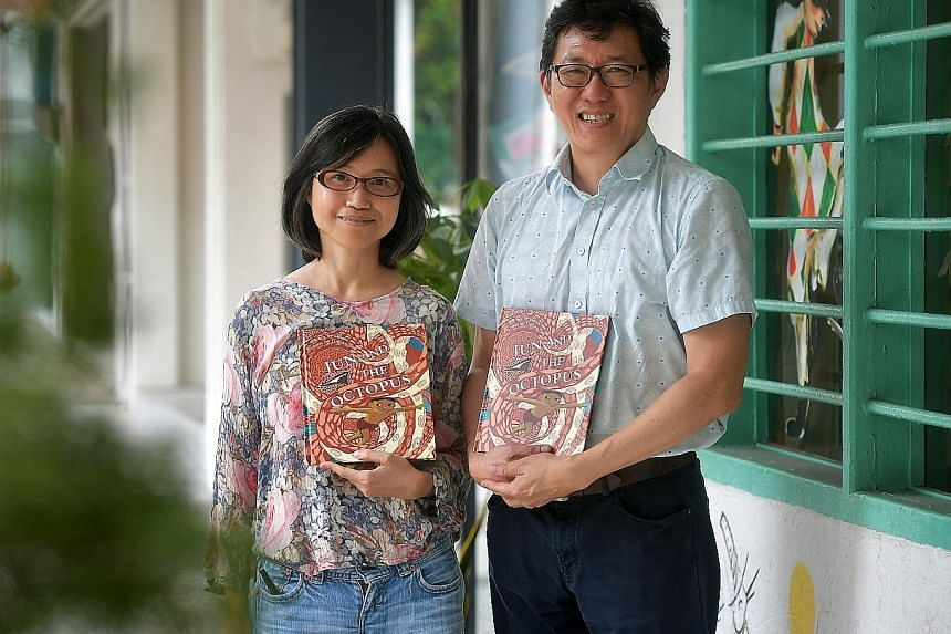 Author Goh Eck Kheng and illustrator Lim An-ling with the Singapore Children's Society's child sexual abuse prevention storybook titled Jun And The Octopus. Launched yesterday, it is targeted at parents and educators, and encourages them to discuss t