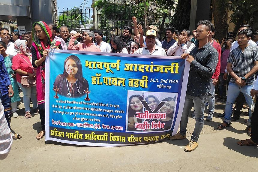 Protesters demanding justice for Dr Payal Tadvi outside BYL Nair Charitable Hospital in Mumbai on Tuesday. Dr Tadvi had been constantly harassed by three upper-caste senior students.