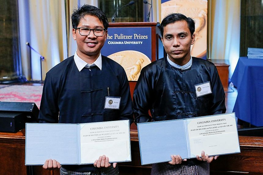 Mr Wa Lone (left) and Mr Kyaw Soe Oo were released this month after being jailed for more than 500 days in Myanmar. Before they were arrested in December 2017, they had been working on a story on the killing of 10 Rohingya Muslim men and boys.