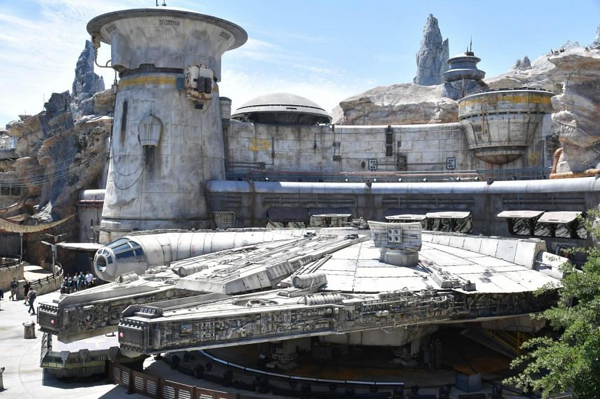 The Millennium Falcon is seen at the Star Wars: Galaxy's Edge expansion at Disneyland, in Anaheim, California, on May 29, 2019.
