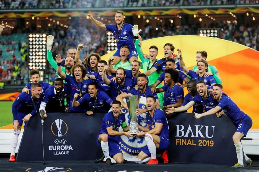 Chelsea players celebrating after winning the Europa Cup, on May 30, 2019.