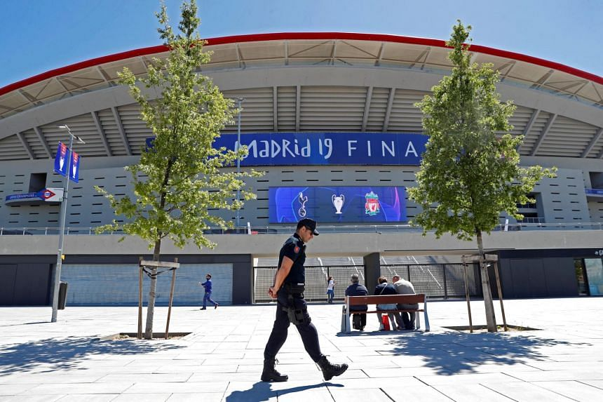 A police officer walking outside the Wanda Metropolitano stadium where the Champions League final will be held, on May 29, 2019.