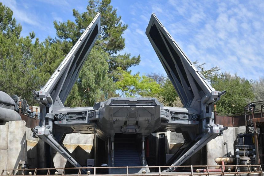 A TIE Echelon transport ship on display at the Star Wars: Galaxy's Edge expansion at Disneyland, in Anaheim, California.