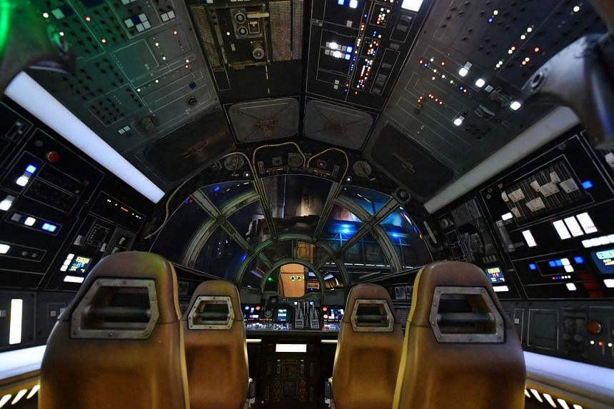 Inside the Millennium Falcon at the Star Wars: Galaxy's Edge expansion at Disneyland in Anaheim, California.