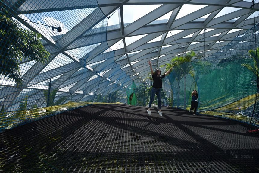 """The park boasts 10 attractions, including two """"sky nets"""" where visitors can either bounce across a 250m-long net, or walk across a net suspended 25m up in the air."""