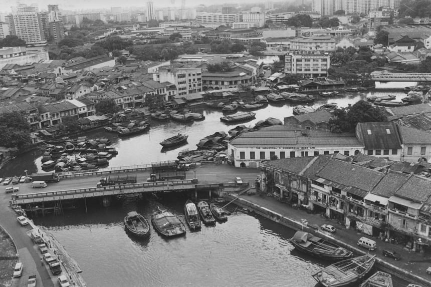 Old buildings lining the banks of the Singapore River in an undated photo.