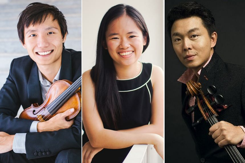 (From left) Violinist Loh Jun Hong and pianist Abigail Sin will perform with cellist Qin Li-Wei in their More Than Music concert series.
