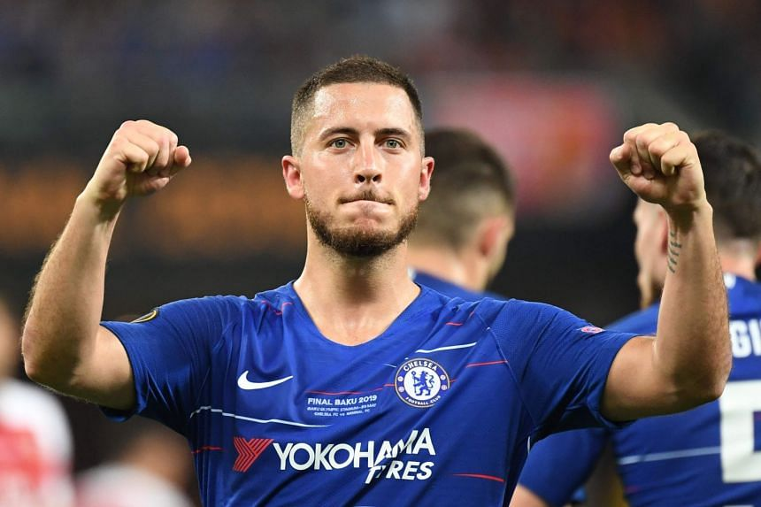 Chelsea's Belgian midfielder Eden Hazard celebrates after scoring during the Europa League final.