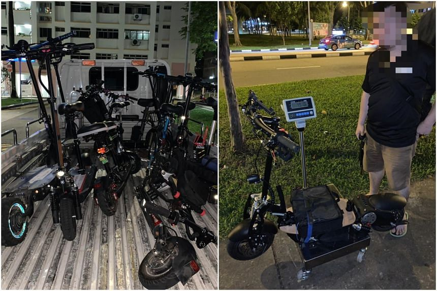 Of the 10 personal mobility devices (PMDs) impounded on May 25, six were used on the road, with one of the PMDs (right) weighing nearly 50kg, over twice the 20kg weight limit.