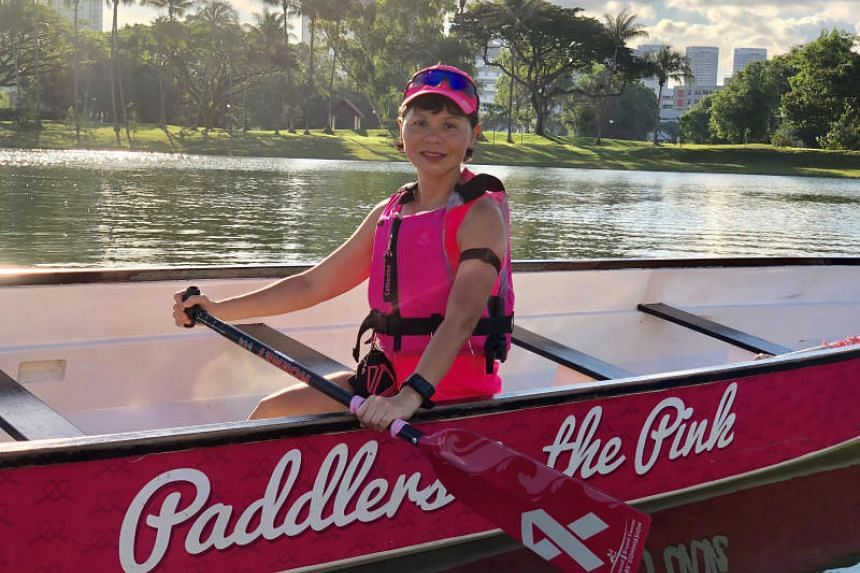 After getting hooked on dragon boating more than two years ago, breast cancer survivor Catherine Lee can now take on an intense two-hour training session, do body-weight exercise and pilates.