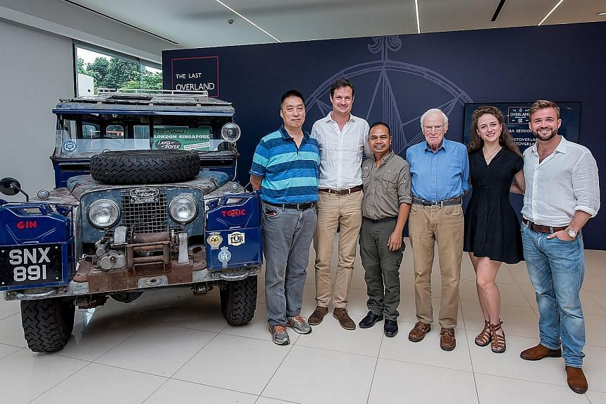 (From left) Mr Larry Leong, Mr Marcus Allender, Dr Silverius Purba, Mr Tim Slessor, Ms Therese-Marie Becker and Mr Alex Bescoby are part of a team that will travel overland from Singapore to London in August. They will travel in three vehicles, inclu