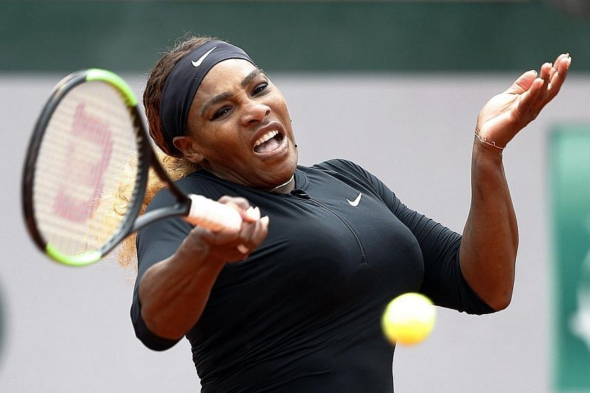 Former world No. 1 Serena Williams was given a decent workout by Japanese world No. 238 Kurumi Nara in Paris yesterday but her experience and quality prevailed in the end as she won 6-3, 6-2 to reach the third round of the French Open. PHOTO: REUTERS
