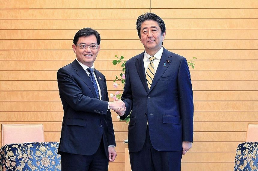 "Singapore's Deputy Prime Minister and Finance Minister Heng Swee Keat met Japanese Prime Minister Shinzo Abe in Tokyo yesterday, and the two leaders discussed new areas of cooperation. In a post on Facebook, DPM Heng said he and Mr Abe also ""reaffirm"