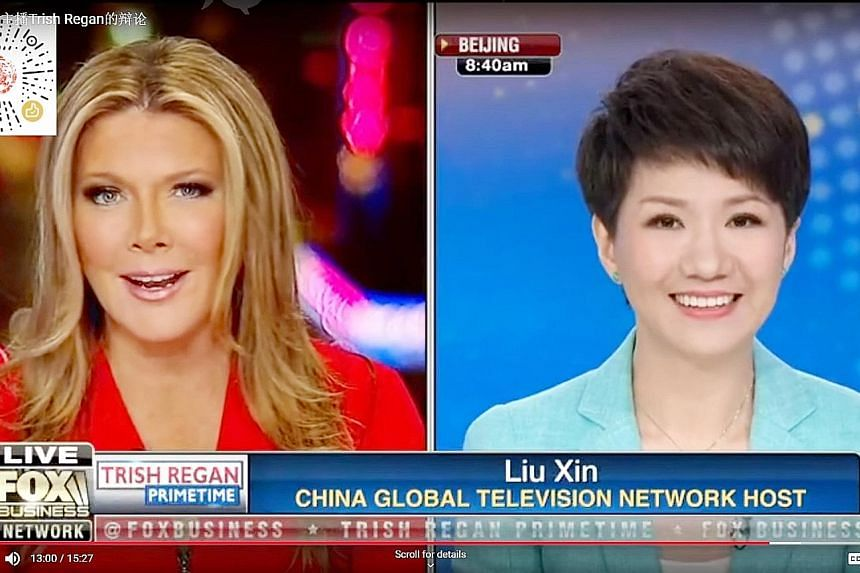 The face-off between Fox Business anchor Trish Regan and China Global Television Network host Liu Xin disappointed many Chinese viewers after the debate on the trade war turned out to be less fiery than anticipated. PHOTO: YOUTUBE