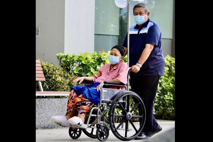 Mrs Yudhoyono recently posted a photo of herself in a wheelchair outside the hospital ward.