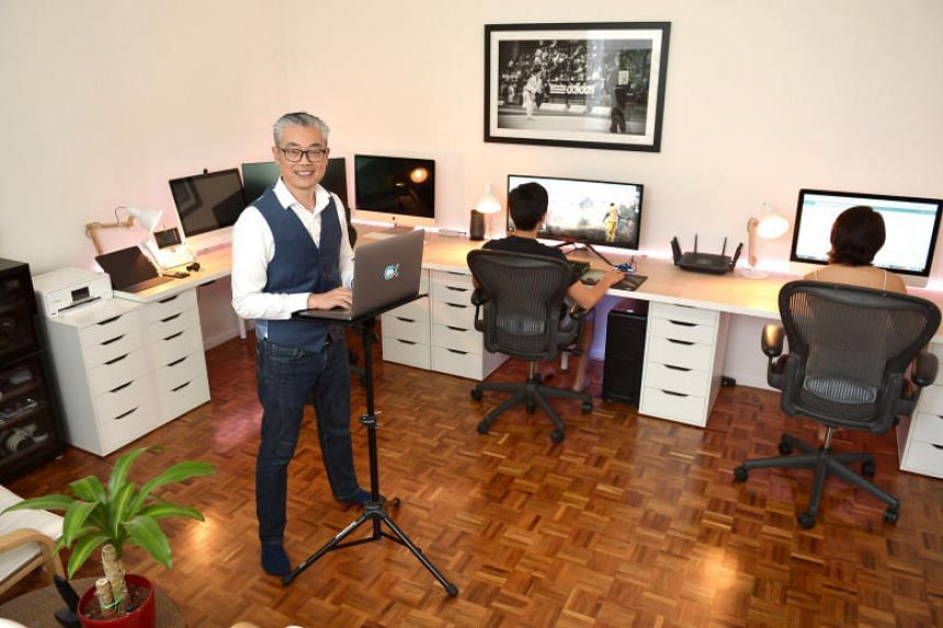 Mr Air Vongxayasy, director of operations of the customer experience department at Cisco, at his home office.