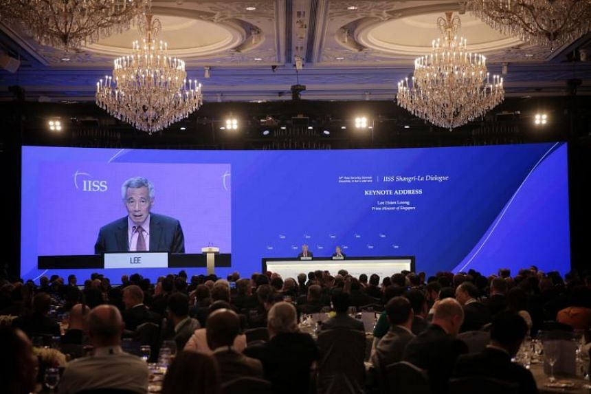 Prime Minister Lee Hsien Loong takes part in a question-and-answer session after delivering his keynote address at the Shangri-La Dialogue on May 31, 2019.