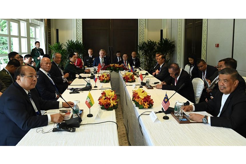 Minister for Defence Ng Eng Hen, other South-east Asian defence ministers and their representatives meeting US Acting Secretary Patrick Shanahan on the sidelines of the Shangri-La Dialogue on May 31, 2019.