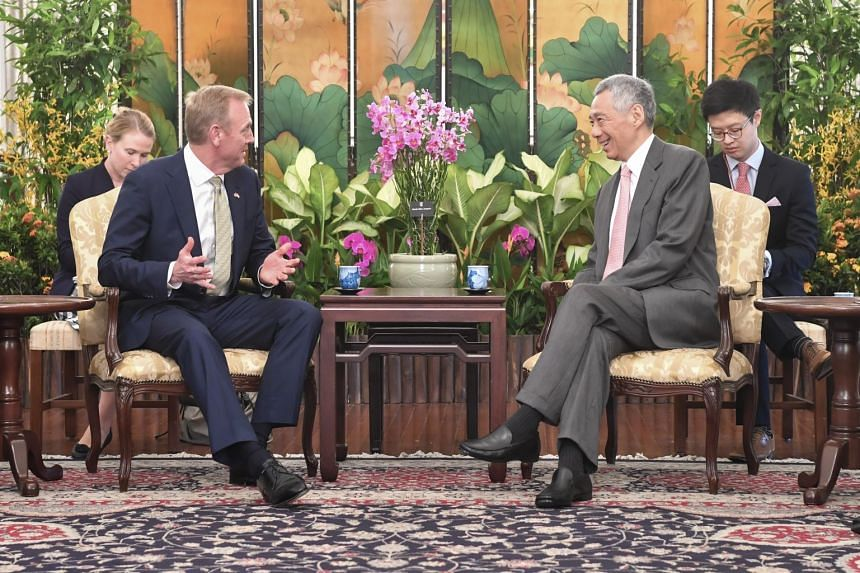 US Acting Defence Secretary Patrick Shanahan calling on Prime Minister Lee Hsien Loong at the Istana