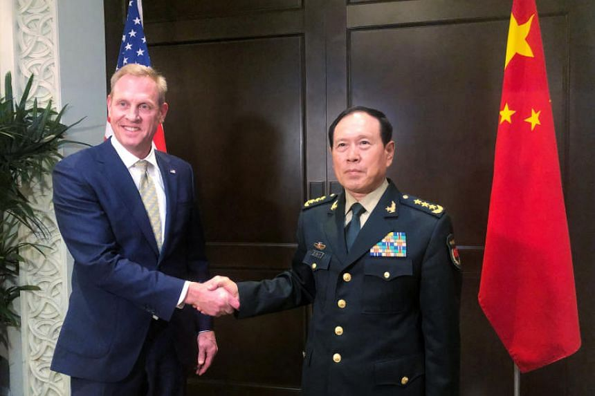 Chinese Defence Minister Wei Fenghe and acting US Defence Secretary Patrick Shanahan meeting on the sidelines of the Shangri-La Dialogue on May 31, 2019.