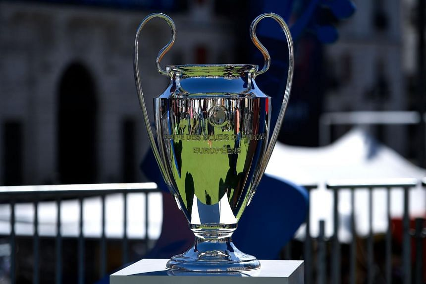 The UEFA Champions League trophy displayed at Puerta del Sol square in Madrid, on May 30, 2019.
