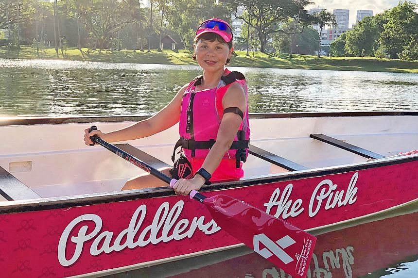 Catherine Lee, 55, a breast cancer survivor, will be taking part in the DBS Marina Regatta this weekend for the first time, as a member of the Breast Cancer Foundation (BCF) Paddlers in the Pink team.