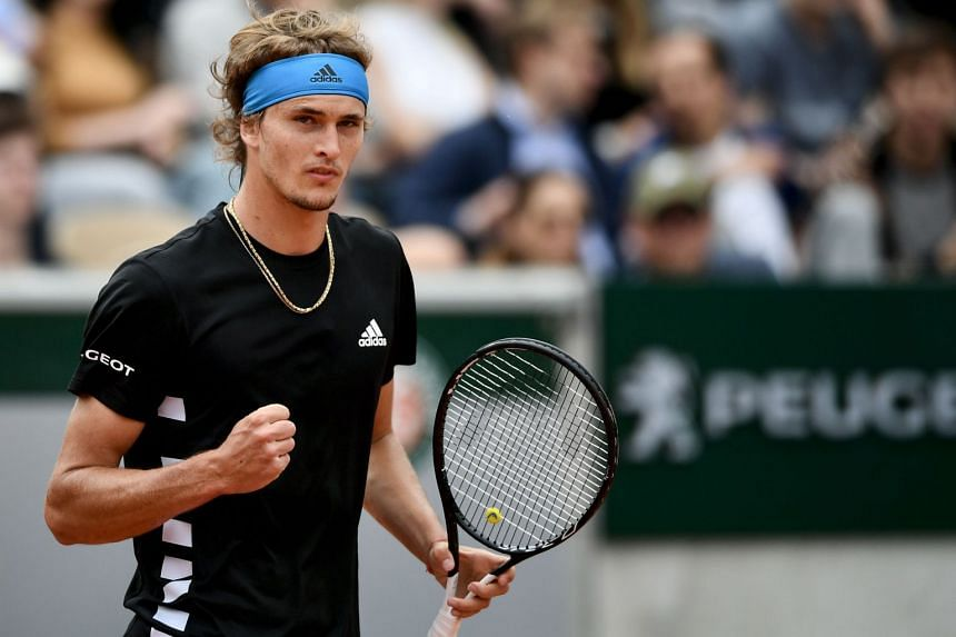 Germany's Alexander Zverev reacts as he plays against Sweden's Mikael Ymer.
