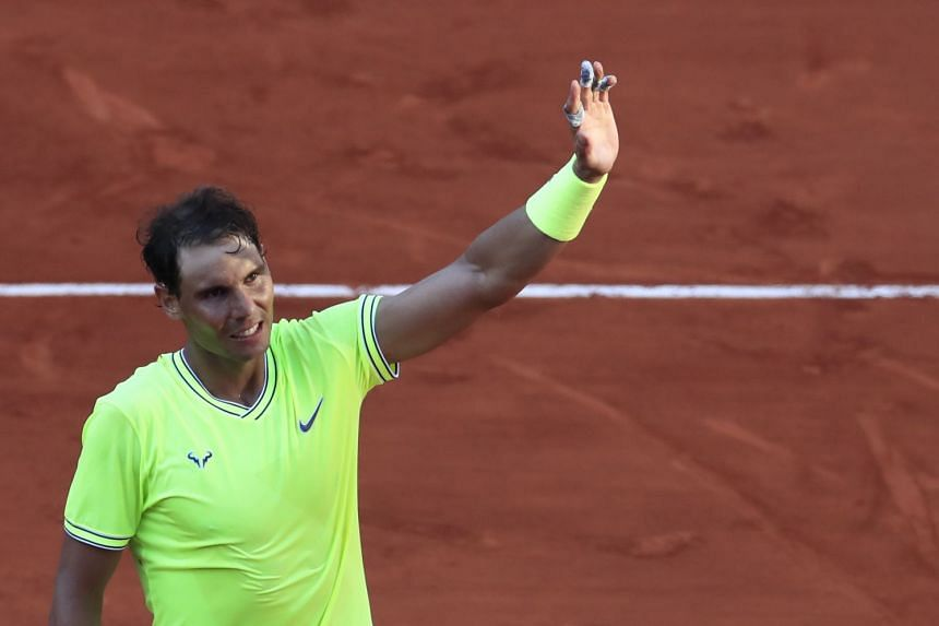 Nadal reacts after his third round match against Belgium's David Goffin.