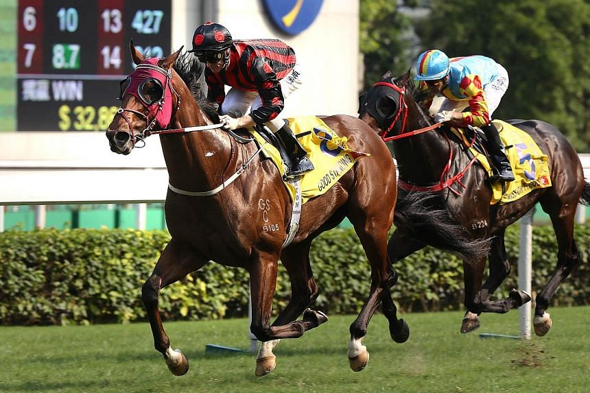 Last-start winner Good Standing (in black and red) looks the one to beat in Race 9 at Sha Tin tomorrow.