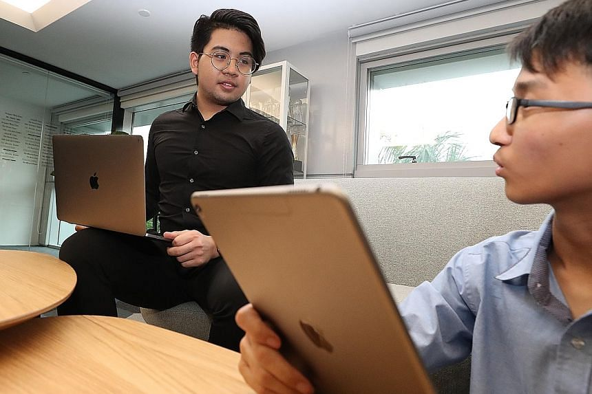 Singapore Polytechnic student Dalton Ng (left) and Dunman High student Lim Yong Jun will attend sessions hosted by Apple engineers at its Worldwide Developers Conference in San Jose, California, next week.