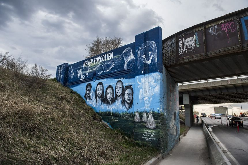 A mural honoring missing and murdered Indigenous women in Winnipeg, Canada, May 13, 2019.
