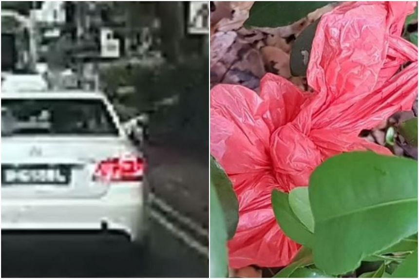 The video shows a taxi driver throwing a red plastic bag out of his cab along Penang Road.