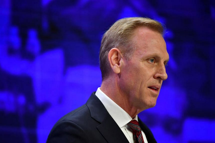 Acting US Defence Secretary Patrick Shanahan speaking at the Shangri-La Dialogue on June 1, 2019.
