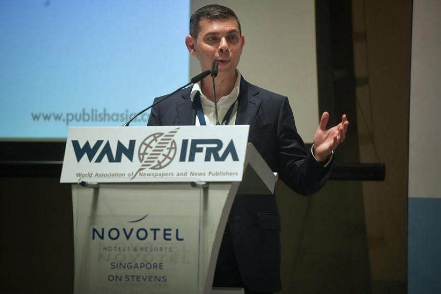 Mr Warren Fernandez, editor of The Straits Times and editor-in-chief of Singapore Press Holdings' English, Malay and Tamil Media Group, delivers his speech at the Wan-Ifra Publish Asia Awards on May 8, 2019.