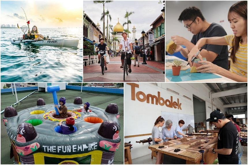 There is a slew of novel activities to try out right here, from kayak fishing (top left) to chopstick-making classes (bottom right).