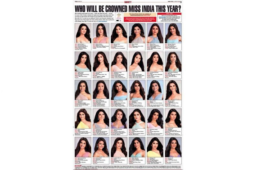 A newspaper linked to the Femina Miss India contest published a collage of 30 women, each representing an Indian state - and each fair skinned.