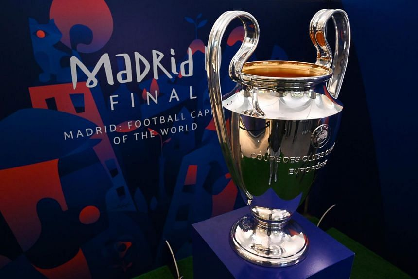 The UEFA Champions League trophy in Madrid on May 29, 2019, ahead of the match between Liverpool and Tottenham Hotspur.