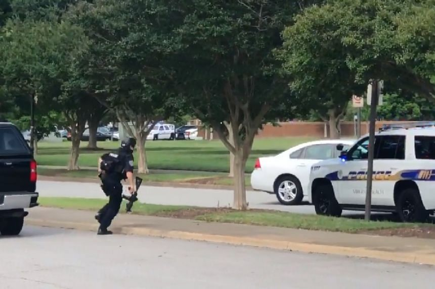 A screenshot from a video posted online shows police responding to the incident.