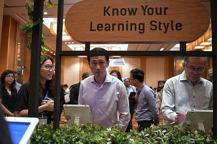 Education Minister Ong Ye Kung at the LIT (Learning Is Triggered) DISCOvery event at Marina Bay Sands yesterday. The event was launched by Young NTUC and the Lifelong Learning Institute to encourage young people to embrace the spirit of lifelong lear