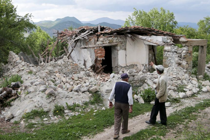 The first earthquake had its epicentre 15km south-east of the town of Korce at a depth of 14km and was followed by another seven minutes later at a depth of 18km in an area bordering Greece and North Macedonia.
