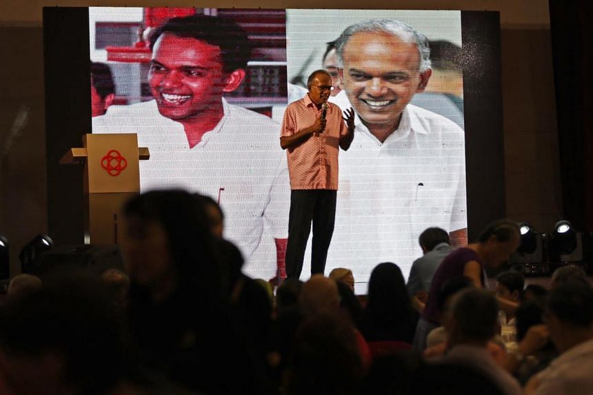 Minister for Home Affairs and Law K. Shanmugam delivers his speech at the Merdeka Generation event at  Chong Pang Community Club on June 2, 2019.