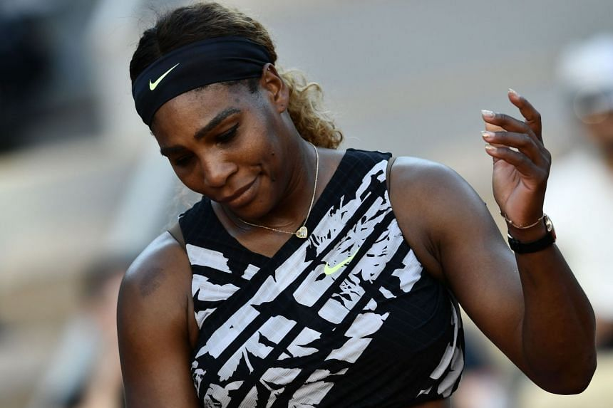 Williams reacts during her women's singles third-round match against Sofia Kenin.